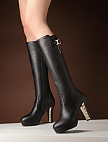 Women's Shoes Leatherette Chunky Heel Heels / Round Toe Boots Outdoor / Office & Career / Casual Black