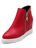 Women's Shoes Leatherette Low Heel Pointed Toe Boots Casual Black / Red / White