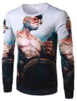 Tee-Shirt Décontracté Pour des hommes Manches longues A Motifs Coton / Polyester