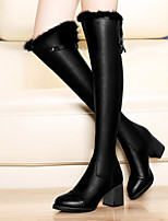 Women's Shoes Leather Chunky Heel Heels Boots Party & Evening / Dress / Casual Black