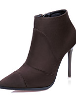 Women's Shoes Suede Stiletto Heel Heels / Bootie / Pointed Toe / Closed Toe Boots Dress Black / Brown / Gray