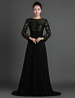 Sheath/Column Mother of the Bride Dress - Black Sweep/Brush Train Chiffon / Lace