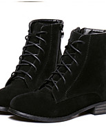Women's Shoes Suede Low Heel Round Toe Boots Casual Black / Brown