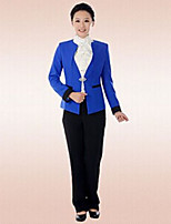 Women's Solid Blue / Red Blazer , Sexy / Bodycon / Work Off Shoulder Long Sleeve
