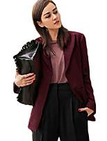 Women's Solid Black / Brown Blazer , Casual Notch Lapel Long Sleeve