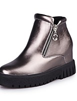 Women's Shoes  Wedge Heel Combat Boots / Round Toe Boots Outdoor / Casual Black / Red / Silver
