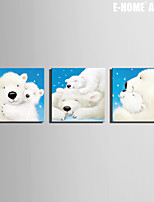 E-HOME® Stretched Canvas Art White Bear Christmas Series Decoration Painting  Set of 3