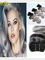 3 Pcs/Lot  Double Weft  Black And Grey Hair Extensions Brazilian Virgin Hair Body Wave Ombre Grey Hair Weave