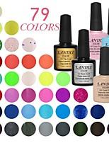 LANDLE  Soak Off UV Nail Gel 79 Color Gel LED Manicure Gel(9  vase)Base And Top Coat  And Random Color