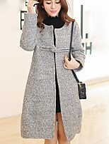 Women's Solid Pink / Gray Coat , Vintage Long Sleeve Others