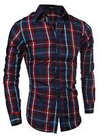 Men's Classic Slim Plaid Shirt , Cotton / Polyester Casual Plaids & Checks