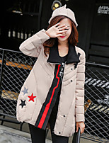 Women's Patchwork W Parka Coat  Vintage  Casual Stand Long Sleeve