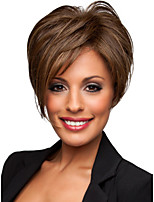Fashionable Sweet Side Bang Brown Color Medium Length Straight Synthetic Hair Wig