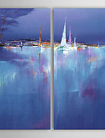 Oil Painting Modern Abstract Landscape Set of 2 Hand Painted Canvas with Stretched Framed