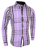 Men's Long Sleeve Shirt , Cotton Blend Casual Plaids & Checks
