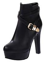 Women's Shoes Chunky Heel Heels / Platform / Bootie / Round Toe Heels / Boots Dress / Casual Black