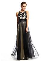 저녁 정장파티 드레스 - 블랙 A라인 바닥 길이 스쿱 명주그물