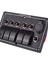 Iztoss Waterproof 5 Gang Aluminum LED Rocker Switch Panel Power Socket Rv car