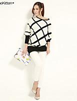 JoanneKitten Women's Geometric / Color Block White / Black Dress , Sexy / Bodycon / Casual / Party / Work Long Sleeve