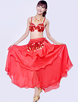 Belly Dance Outfits Women's Performance Spandex / Polyester Draped 3 Pieces 7 Colors