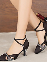 Women's Rhinestone Modern Dance Shoes Pointed Closed Toe Latin Ballroom Salsa Dancing Shoes Dancewear Black/Blue