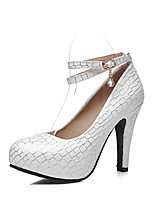 Women's Shoes Chunky Heel Ankle Strap / Round Toe Heels Dress / Casual Blue / Pink / White