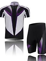 Men's Short Sleeve Cycling Clothing Sets/Suits ShortsBreathable / Ultraviolet Resistant /Moisture Violet+White