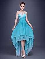 Fiesta formal Vestido - Azul cielo Corte en A Corta/Mini - Corazón Raso