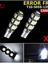 2x cuña canbus t10 blanco 192 168 194 W5W 13 5050 SMD error bombilla de la lámpara de luz LED 12v libre