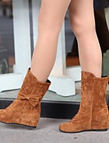Women's Shoes Fleece Wedge Heel Fashion Boots Boots Office & Career / Dress / Casual Black / Brown / Red