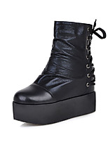 Women's Shoes Leatherette Wedge Heel  / Round Toe Boots Outdoor / Office & Career / Casual Black / White / Metallic