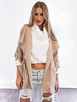 Women's Casual/Daily Sexy / Simple Trench Coat,Solid Hooded Long Sleeve Fall Pink Polyester Opaque