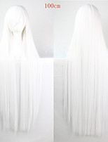 perruque de bande dessinée de couleur de la mode 100 cm blanches longues perruques de cheveux droites