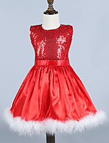Girl's Red Dress , Floral Cotton / Polyester All Seasons