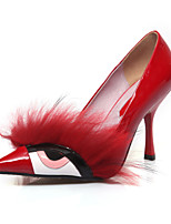 Women's Shoes Leather / Patent Leather Stiletto Heel Heels / Pointed Toe Heels Dress Blue / Red / Almond