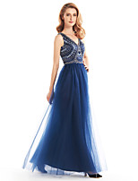 A-line Mother of the Bride Dress - Dark Navy Ankle-length Sleeveless Tulle