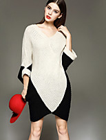 Women's Patchwork / Color Block White Dress , Casual Long Sleeve