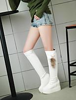 Scarpe Donna - Stivali - Ufficio e lavoro / Casual - Zeppe / Tacchi / Punta arrotondata - Zeppa - Finta pelle - Nero / Bianco