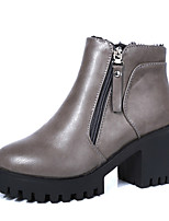 Women's Shoes Leatherette Low Heel Fashion Boots / Combat Boots Boots Outdoor / Dress / Casual Black / Gray