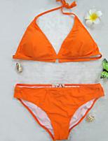 Bikini Da donna Tinta unita Senza bretelline / Imbottito All'americana Nylon / Elastene / Felpato