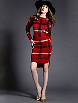 Women's Plaid Blue / Red / Green Dress , Sexy / Bodycon Long Sleeve