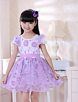 Girl's Pink / Purple Dress , Floral Spandex Summer