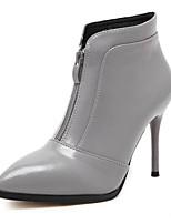 Women's Shoes Leatherette Stiletto Heel Comfort Boots Outdoor Black / Gray