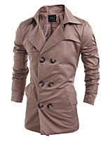Men's Solid Casual / Work Trench coat,Acrylic / Polyester Long Sleeve-Black / Brown 916266
