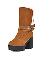 Women's Shoes Chunky Heel Fashion Boots / Round Toe / Closed Toe Boots Office & Career / Dress Black / Yellow / Beige