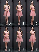 Knee-length Tulle Bridesmaid Dress - Candy Pink A-line One Shoulder