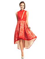 Fiesta cóctel Vestido - Rojo Corte A Asimétrico - Escote Alto Encaje