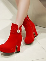 Women's Shoes Leatherette Wedge Heel Wedges  / Round Toe Boots Outdoor / Office & Career / Casual Black / Red