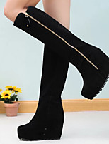 Women's Shoes Fleece Wedge Heel Fashion Boots / Combat Boots Boots Outdoor / Dress / Casual Black / Red