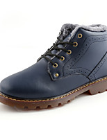 Men's Boots Fall Winter Others PU Outdoor Casual Flat Heel Lace-up Black Blue Brown Walking Others